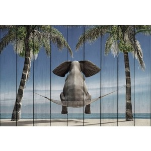 Картина на дереве Дом Корлеоне Слон отдыхе 80x120 см