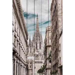 Картина на дереве Дом Корлеоне Собор Барселона 100x150 см