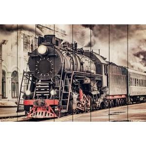 цена на Картина на дереве Дом Корлеоне Старый поезд 80x120 см