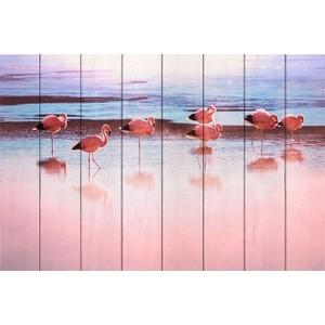Картина на дереве Дом Корлеоне Фламинго берегу реки 40x60 см