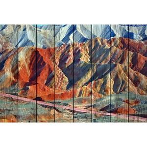 Картина на дереве Дом Корлеоне Цветные горы 80x120 см