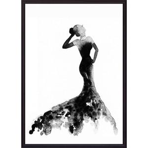 Постер в рамке Дом Корлеоне Черное платье Акварель 2 40x60 см