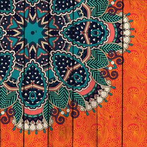 Картина на дереве Дом Корлеоне Этника Оранж 60x60 см