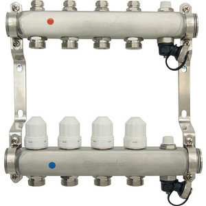 Коллекторная группа Ondo 4 выхода с термостатическими и запорными клапанами (OKGSP004) фото