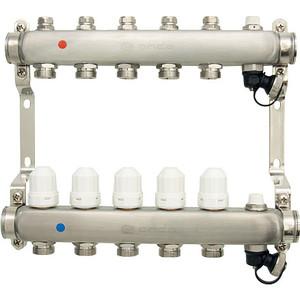 Коллекторная группа Ondo 5 выхода с термостатическими и запорными клапанами (OKGSP005) коллекторная группа royal thermo в сборе с расходомерами 1 вр 3 4 нр 9 выходов нержавеющая сталь rte 52 109