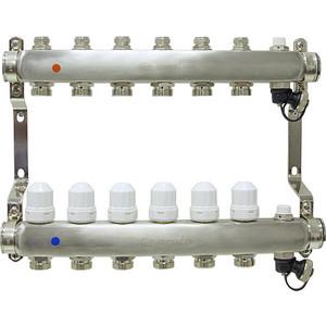 Коллекторная группа Ondo 6 выхода с термостатическими и запорными клапанами (OKGSP006) фото