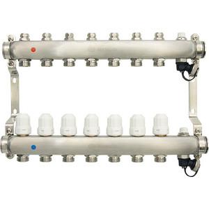 Коллекторная группа Ondo 7 выхода с термостатическими и запорными клапанами (OKGSP007) коллекторная группа royal thermo в сборе с расходомерами 1 вр 3 4 нр 9 выходов нержавеющая сталь rte 52 109