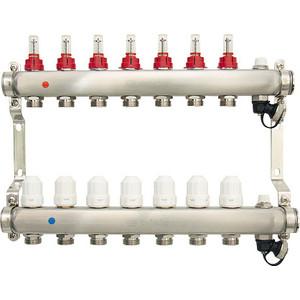 Коллекторная группа Ondo 7 выхода с расходомерами и термостатическими клапанами (OKGSET07) коллекторная группа royal thermo в сборе с расходомерами 1 вр 3 4 нр 9 выходов нержавеющая сталь rte 52 109