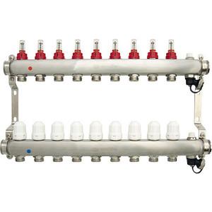 Коллекторная группа Ondo 9 выхода с расходомерами и термостатическими клапанами (OKGSET09) фото