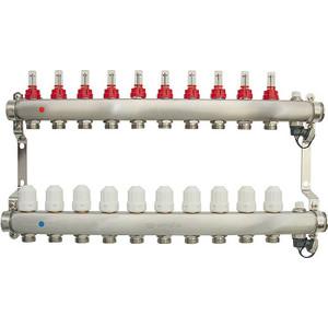 Коллекторная группа Ondo 10 выхода с расходомерами и термостатическими клапанами (OKGSET10) коллекторная группа royal thermo в сборе с расходомерами 1 вр 3 4 нр 9 выходов нержавеющая сталь rte 52 109