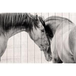 Картина на дереве Дом Корлеоне Две лошади 01-0268-40х60
