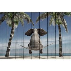 цена Картина на дереве Дом Корлеоне Слон на отдыхе 01-0357-30х40