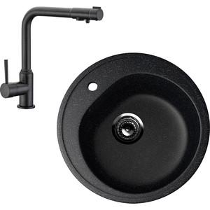 Кухонная мойка и смеситель EcoStone ES-011 Kaiser Teka черная (ES-11-308, 13044-9) фото