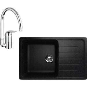 Кухонная мойка и смеситель EcoStone ES-019 Grohe Euroeco черная (ES-19-308, 32752000)
