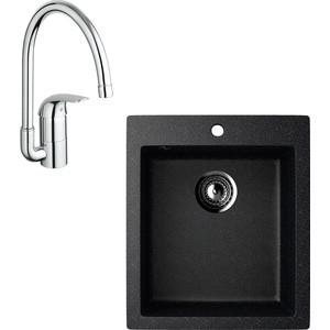 Кухонная мойка и смеситель EcoStone ES-014 Grohe Euroeco черная (ES-14-308, 32752000)
