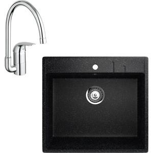 Кухонная мойка и смеситель EcoStone ES-15 Grohe Euroeco черная (ES-15-308, 32752000)
