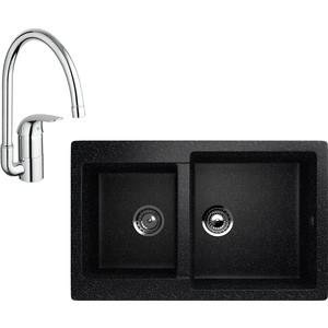 Кухонная мойка и смеситель EcoStone ES-028 Grohe Euroeco черная (ES-28-308, 32752000)