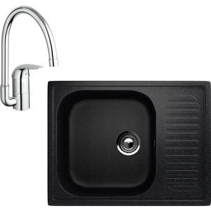 Кухонная мойка и смеситель EcoStone ES-018 Grohe Euroeco черная (ES-18-308, 32752000)