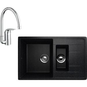 Кухонная мойка и смеситель EcoStone ES-022 Grohe Euroeco черная (ES-22-308, 32752000)