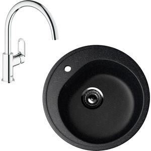 Кухонная мойка и смеситель EcoStone ES-011 Grohe BauLoop черная (ES-11-308, 31368000) фото
