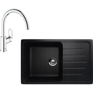 Кухонная мойка и смеситель EcoStone ES-019 Grohe BauLoop черная (ES-19-308, 31368000) фото