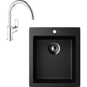 Кухонная мойка и смеситель EcoStone ES-014 Grohe BauLoop черная (ES-14-308, 31368000) фото