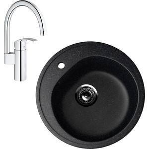 Кухонная мойка и смеситель EcoStone ES-011 Grohe Eurosmart черная (ES-11-308, 33202002)