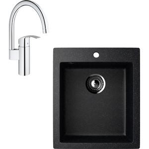 Кухонная мойка и смеситель EcoStone ES-014 Grohe Eurosmart черная (ES-14-308, 33202002)