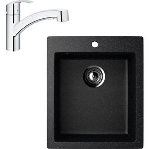 Кухонная мойка и смеситель EcoStone ES-014 Grohe Eurosmart черная (ES-14-308, 30305000)