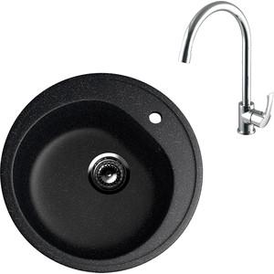 Кухонная мойка и смеситель EcoStone ES-011 Lemark Plus Strike черная (ES-11-308, LM1105C)
