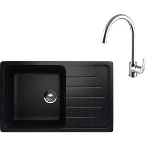 Кухонная мойка и смеситель EcoStone ES-019 Lemark Plus Strike черная (ES-19-308, LM1105C)