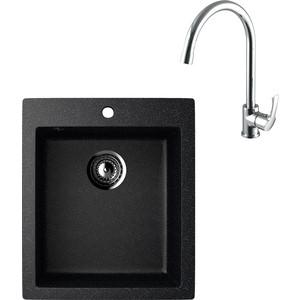 Кухонная мойка и смеситель EcoStone ES-014 Lemark Plus Strike черная (ES-14-308, LM1105C)