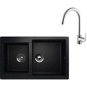 Кухонная мойка и смеситель EcoStone ES-028 Lemark Plus Strike черная (ES-28-308, LM1105C)