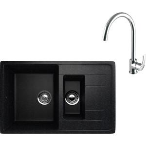 Кухонная мойка и смеситель EcoStone ES-022 Lemark Plus Strike черная (ES-22-308, LM1105C)