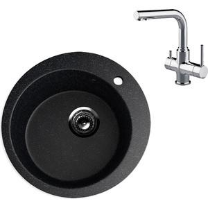 Кухонная мойка и смеситель EcoStone ES-013 Lemark Comfort черная (ES-13-308, LM3061C)