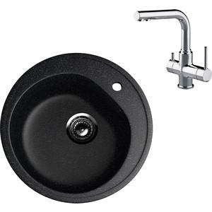 Кухонная мойка и смеситель EcoStone ES-011 Lemark Comfort черная (ES-11-308, LM3061C)