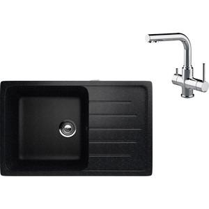 Кухонная мойка и смеситель EcoStone ES-019 Lemark Comfort черная (ES-19-308, LM3061C)