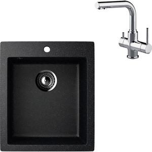 Кухонная мойка и смеситель EcoStone ES-014 Lemark Comfort черная (ES-14-308, LM3061C)