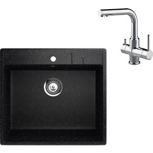 Кухонная мойка и смеситель EcoStone ES-15 Lemark Comfort черная (ES-15-308, LM3061C)