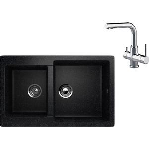 Кухонная мойка и смеситель EcoStone ES-028 Lemark Comfort черная (ES-28-308, LM3061C)