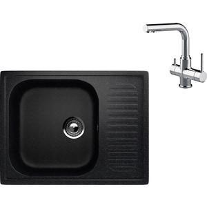 Кухонная мойка и смеситель EcoStone ES-018 Lemark Comfort черная (ES-18-308, LM3061C)