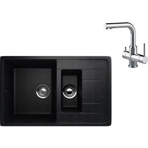 Кухонная мойка и смеситель EcoStone ES-022 Lemark Comfort черная (ES-22-308, LM3061C)