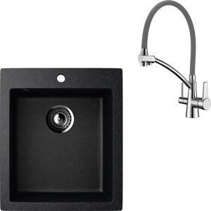 Кухонная мойка и смеситель EcoStone ES-014 Lemark Comfort черная (ES-14-308, LM3071C-Gray)