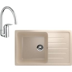 Кухонная мойка и смеситель EcoStone ES-019 Grohe Euroeco бежевая (ES-19-328, 32752000)