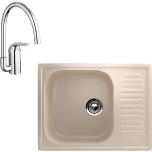 Кухонная мойка и смеситель EcoStone ES-018 Grohe Euroeco бежевая (ES-18-328, 32752000)