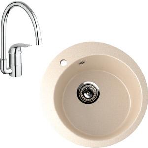 Кухонная мойка и смеситель EcoStone ES-013 Grohe Euroeco бежевая (ES-13-328, 32752000)