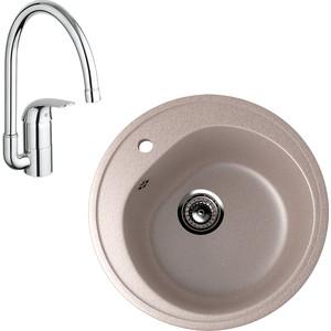 Кухонная мойка и смеситель EcoStone ES-011 Grohe Euroeco песочная (ES-11-302, 32752000)