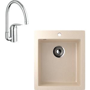 Кухонная мойка и смеситель EcoStone ES-014 Grohe Euroeco бежевая (ES-14-328, 32752000)