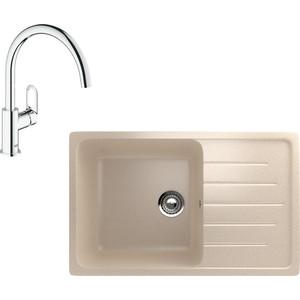 Кухонная мойка и смеситель EcoStone ES-019 Grohe BauLoop бежевая (ES-19-328, 31368000) фото