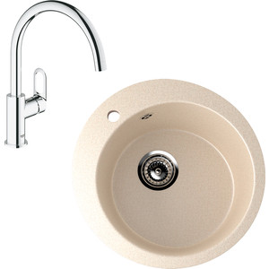 Кухонная мойка и смеситель EcoStone ES-013 Grohe BauLoop бежевая (ES-13-328, 31368000)